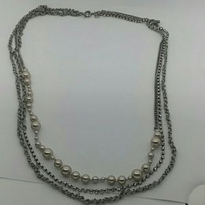 J. Crew Long Multistrand Silver-Tone Necklace